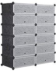 SONGMICS DIY Schuhregal Schuhschrank mit Tür, 12 x Fach PP-Kunststoff Schuhablage mit Umkippschutz Versehen (26,8 L Faches), für ca. 24 Paar Schuhe,Schwarz 93 x 36 x 105 cm LPC26H