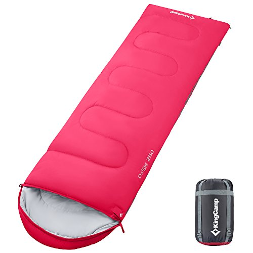 KingCamp Envelope Sleeping Bag 3 Season Spliced Adult Portable Lightweight and Comfort with Compression Sack Camping Backpack Temp Rating 26F/-3C