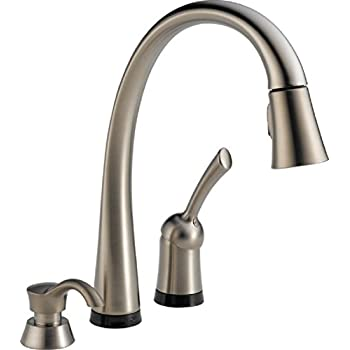 Delta 980T-SSSD-DST Pilar Single-Handle Pull-Down Touch Kitchen Faucet with Touch2O Technology, Magnetic Docking Spray Head and Soap Dispenser, Stainless
