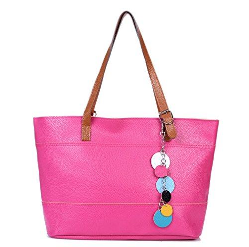 (Ecokaki(TM) Fashion Ladies PU Leather Tote Shoulder Handbag Top-handle Purse Shopper Bag, Rose)