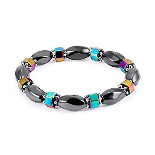 UNKE Colorful Hematite Magnetic Beads Bracelet Elastic Bangle for Men Women