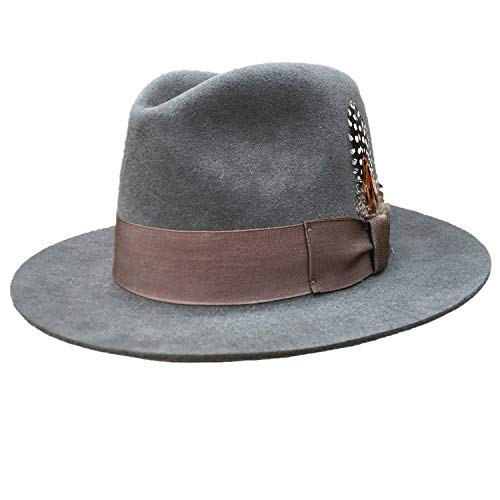 Classic Luxury Angora Wool Fedora Hat -Black Grey Brown Colors
