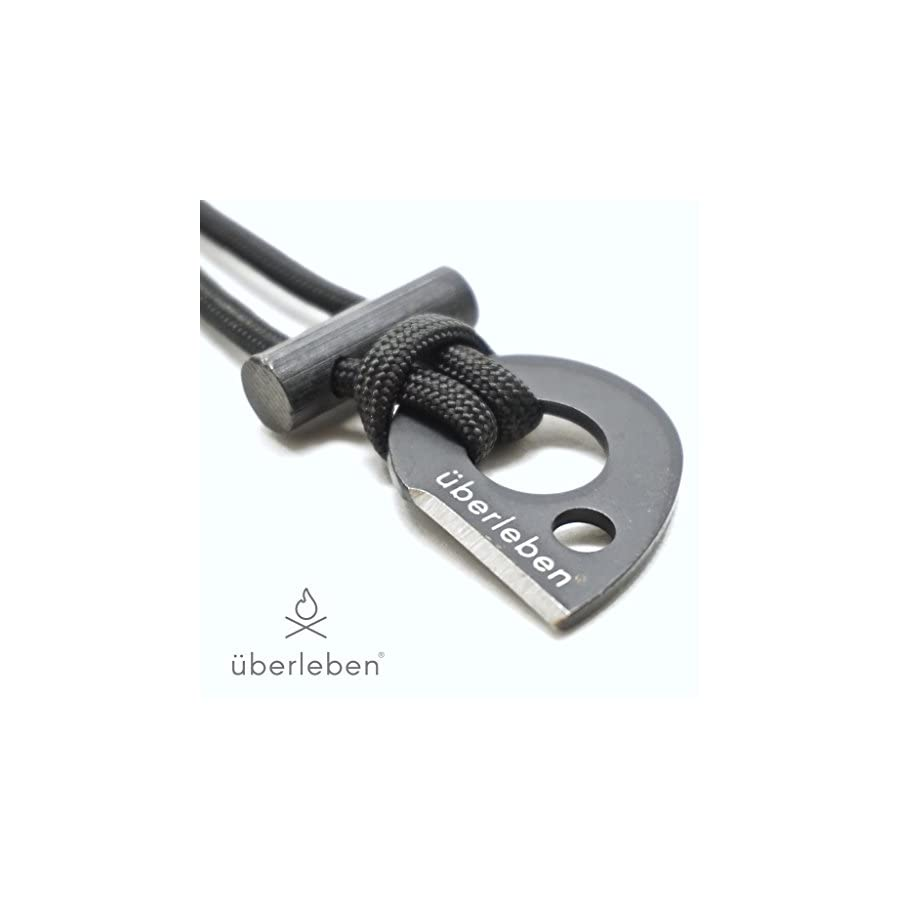 überleben Leicht Fire Starter Necklace | Ultralight Fire Steel | Micro Ferro Rod Toggle | 12,000 Strikes | Survival or Backpacking Neck Lanyard