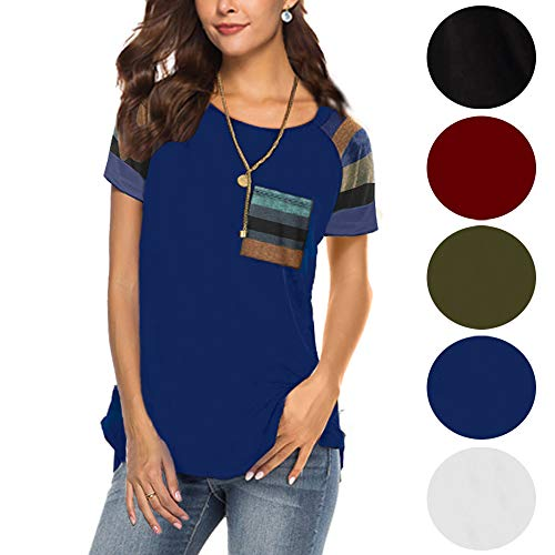 Short Sleeve Tunics for Womens T Shirts Blouse Tops Round Neck Loose Navy Blue L