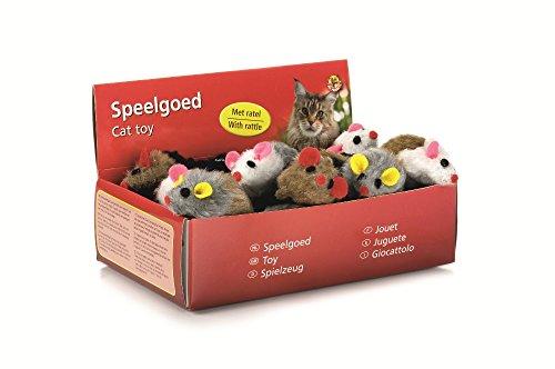 BEEZTEES Katzenspielzeug: 24 x Plüschmaus mit Rassel 5cm #0440420