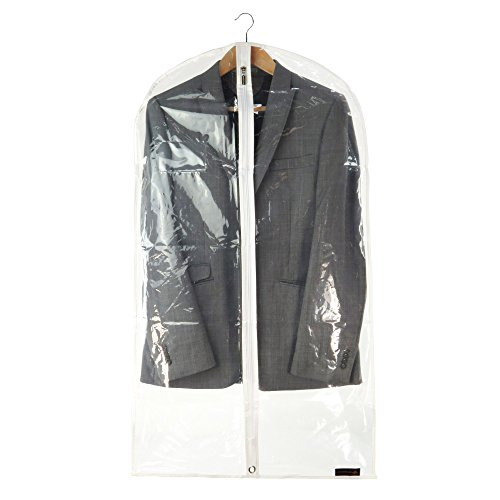 Hangerworld 5 Clear 40inch Peva Showerproof White Trim Suit Coat Garment Clothes Carry Cover Protector Bags