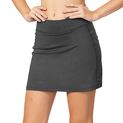 e Active with Underneath Shorts Skorts Lightweight Quick Dry Workout with Pocket Skirt,#178,Grey,US L ()