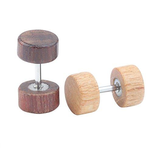 2pcs Earrings Studs Wooden Cheater Plugs Stud Earrings for Men Boys Hypoallergenic ()