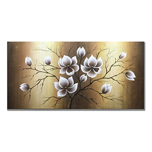 (Zoinart 100% Hand Painted 20x40inch Abstract Decorative Oil Paintings Wood Framed Floral Painting Modern Canvas Wall Art Yellow Flowers Bloom Wall Decor Home Decorations Ready to Hang)
