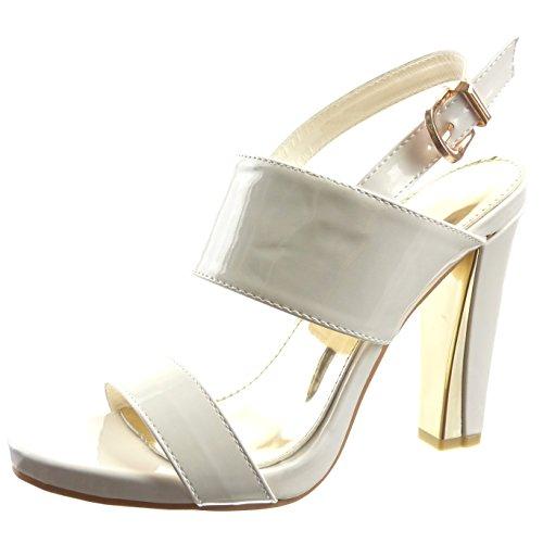 Sopily - damen Mode Schuhe Sandalen Pumpe Plateauschuhe Offen glänzende Schleife - Weiß