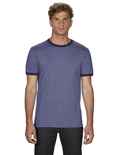 (Anvil Lightweight Ringer Tee. 988 - Large - Heather Blue / Navy)
