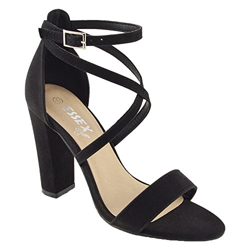 9867efb3ccd6 ESSEX GLAM Womens Strappy Block Heel Black Faux Suede Ankle Strap Sandals  10 B(M