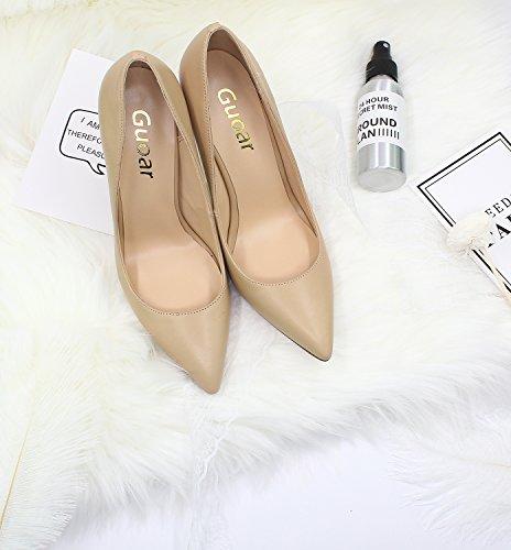 Guoar Dames Stiletto Big Size Schoenen Puntige Teen Dames Solide Pumps Voor Werk Plaats Jurk Partij A-nude-pu Patent