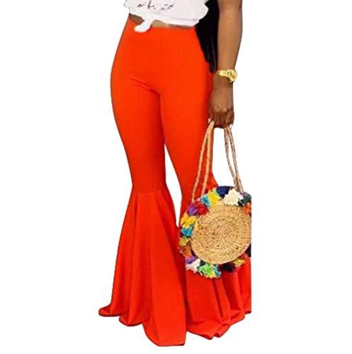 (Uni Clau Women Bell Bottom Pants - Solid Color High Waisted Slim Fit Wide Leg Flare Pants Orange)