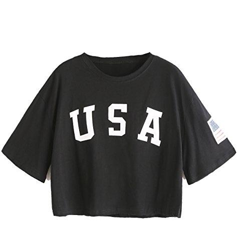 SweatyRocks Women's Letter Print Crop Tops Summer Short Sleeve T-shirt (Large, Black) ()