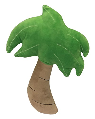 (Petlou Durable Plush Multi-Squeaks and Crinkle Dog and Cat Toys, Vegetables and Rabbit Collection (Green/Grey, 13-Inch Palm Tree) )