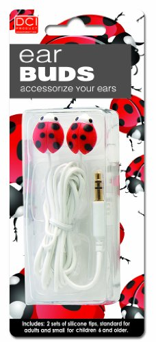 DCI Earbuds, Ladybug Headphone Earbuds - Red and Black