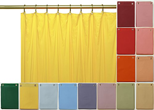 Venice Elegant Home Heavy Duty Vinyl Shower Curtain Liner with 12 Metal Grommets (Yellow Solid Vinyl)
