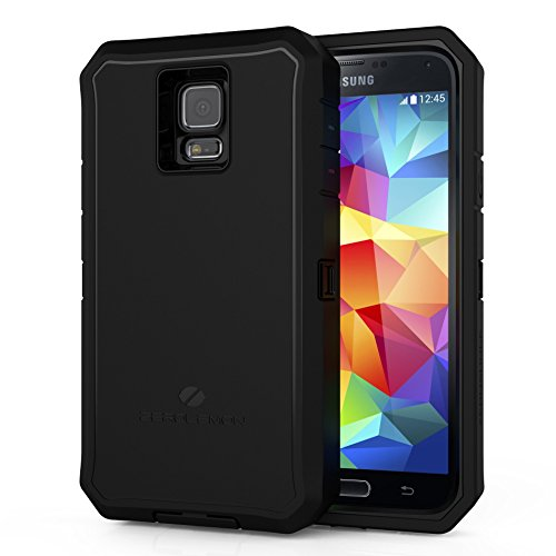 [180 Days Warranty][Case WITHOUT Battery]ZeroLemon Samsung Galaxy S5 Zero Shock Series - Rugged Hybrid Protection Case, Includes Free Screen Protector - World's Only Universal Form Fitting Case, Fits any Battery Size - Black / Black