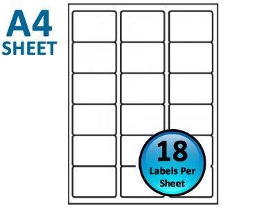 Laser Printers 18 Labels per A4 Sheet Blank Address Multi Purpose Labels for Inkjet L7161 Compatible FREE POST 100 Sheets