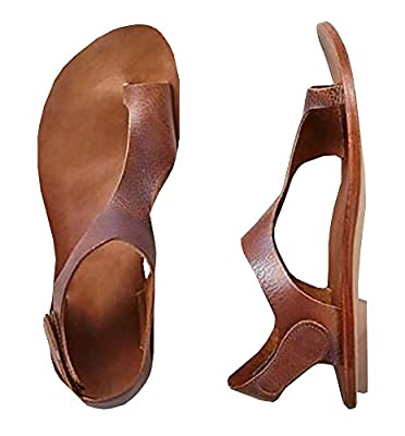 Sandals for Women Summer Casual Brown Ankle Strap Roman Flat Clip Toe Shoes By Ferbia