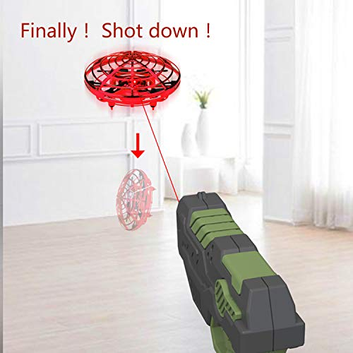 IOKUKI - Hand Operated Mini Drones for Kids and Adults with Toy Gun Remote Control, Double Control UFO Toy Small Drone Indoor and Outdoor RC Mini Drone for Boys and Girls (RED)
