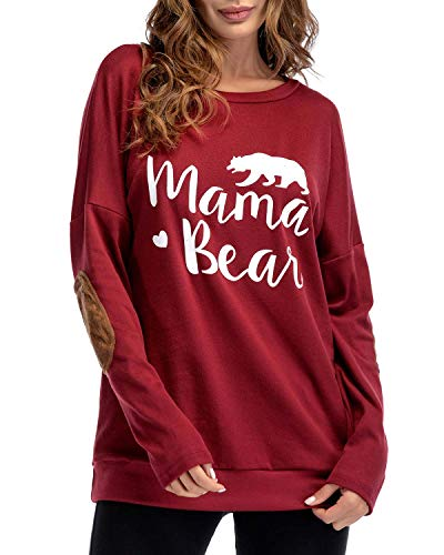 Sundray Women's Mama Bear t Shirt Round NeckTops Letter Print Tunics Villus Patch Blouse Red XL