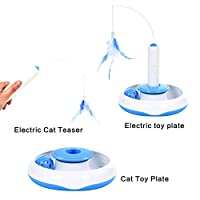 Electric Rotate Best Interactive Cat Feather Toys Teaser Motion Kitten Toys