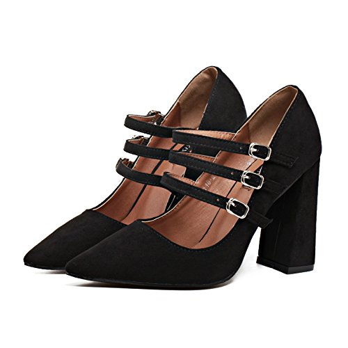 tres de tacón los alto Tacones tacón correa alto Asakuchi y boca con superficial altos señaló zapatos black Elegant 6UqOwEP