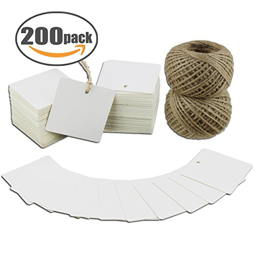 Square Favor Tags - Paper Tags 200 PCS Square Kraft Gift Tags Blank Label with Jute Twine for Handmade Party Favors as Thank You Card Vintage Brown Price Tags (White)