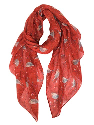 GERINLY Pretty Floral Birds Print Scarfs Gift for Women Dress Wrap Shawl (Red)