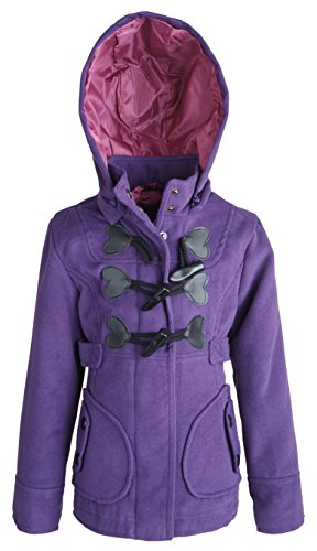 (dollhouse Baby Girls Dressy Wool Look Hooded Winter Toggle Peacoat Jacket - Imperial Purple (12 Months))