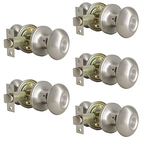 (Probrico Egg Style Hall and Closet Passage Door Knobs Brushed Nickel Oval Door Lock(5 Pack))