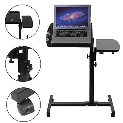 Coldcedar Mobile Laptop Desk Cart,Adjustable Rolling Table Desk, Laptop Notebook Stand Tiltable Tabletop Desk, Sofa/bed Side Table Hospital Table Stand, Sit-Stand Desk Cart with Side Table