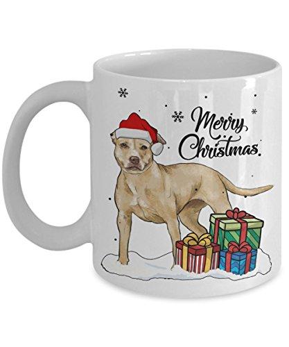 Kiwi Styles Merry Christmas American Pit Bull Terrier Dog Ceramic Coffee Mug Cup | Best Christmas, Birthday Gift For Dog Lovers, Grandpa, Dad, Mom, Boy, Girl - 11 Oz White ()