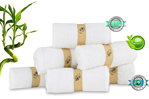 Baby Bamboo Washcloths - Luxury Soft – Perfect for Baby Sensitive skin – Super Absorbent - Organic Natural Wipes– Perfect baby shower / Registry gift - By Turtle Panther Baby