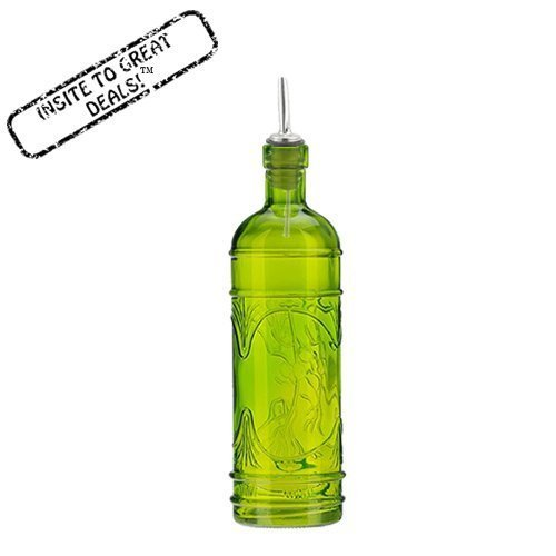 16.1oz Lime Green Olive Leaf Multi-purpose Kitchen Olive Oil, Liquid Hand, Dish Soap Decorative Glass Bottle Dispenser Designer Glass Bottle with Perfect Pour Stainless Steel Spout by Couronne Company