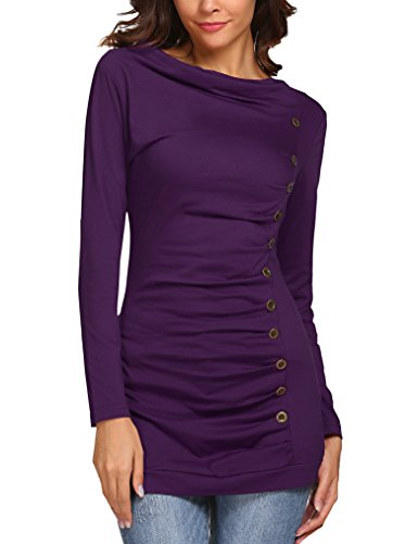 Long Skirt Long Sleeve Blouse (Sherosa Women's Cowl Neck Long Sleeves Buttons Decor Ruched Blouse T-Shirt Tops (S, Purple))