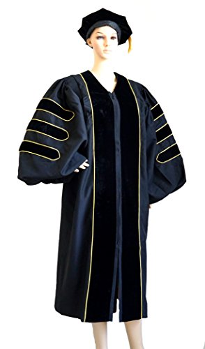 Premium Doctoral Tam & Gown with Golden Trim for PhD Graduates Faculty Professor Common Fit (51