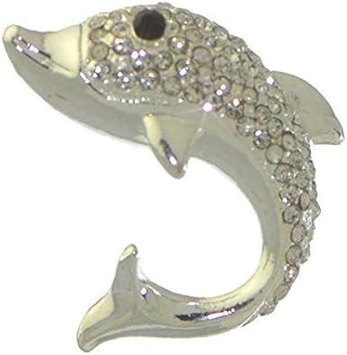 Gold Plated CZ Diamond Studded Dolphin Lapel Pin CZ Crystal Studded Dolphin