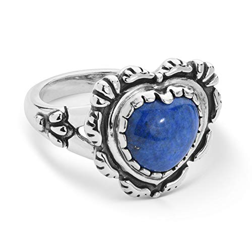 American West Sterling Silver Blue Denim Lapis Gemstone Tooled Heart Ring Sizes 10