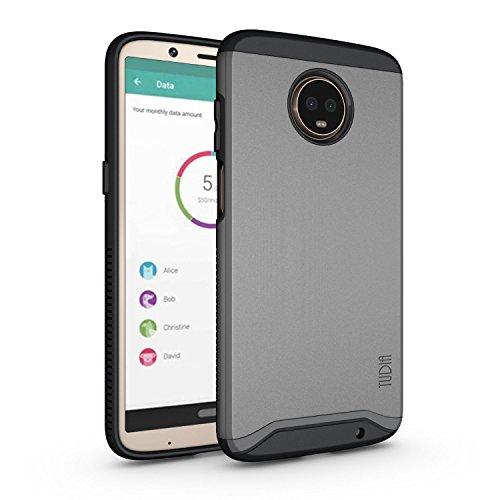 Moto Z3 Play Case, Moto Z3 Case, TUDIA Slim-Fit Heavy Duty [Merge] Extreme Protection/Rugged but Slim Dual Layer Case for Motorola Moto Z3 Play (Metallic Slate)