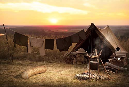 - Leyiyi 7x5ft Grunge Camp Ground Backdrop Sunset Banner Western Farmland Rural Life Cowboy Farm Hay Wood Trunk Boy Scout Photo Background Rustic Music Adults Portrait Shoot Studio Vinyl Prop Wallpaper
