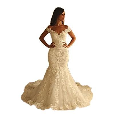 Fenghuavip V-neck Ivory Off-shoulder Long Train Brides Wedding Gowns Mermaid