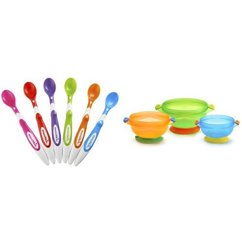 Munchkin Soft Tip Sppn and Suction Bowls Bundle (colors may vary)