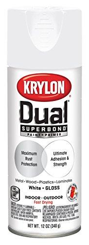Krylon K08800007 'Dual' Superbond Paint and Primer, Gloss White, 12 Ounce (Furniture Best Paint Outdoor For Aluminum)