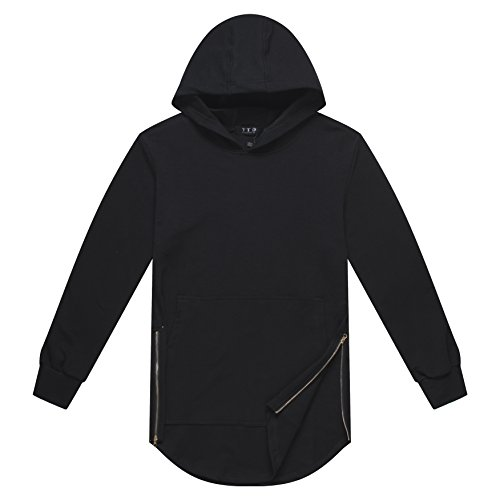 YTD+Mens+Hipster+Long+Sleeve+Kangaroo+Pocket+Hoodies+Sweatshirts+Jacket+%28US+3XL%2C+Black%29