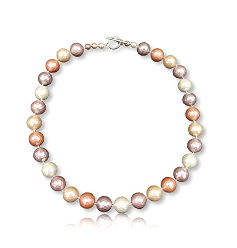 Faceted 14MM Pastel Colored South Sea Mother of Pearl Shell Pearl Beaded Hand Knotted Collar Statement Necklace Sterling Silver Toggle Loop Clasp, about 20