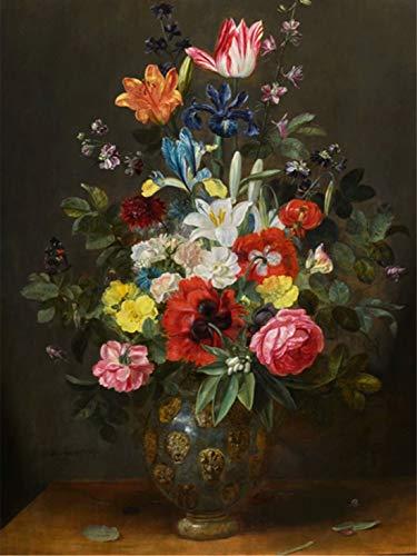 5D Paintings Rhinestone Pasted DIY Diamond painting (Vintage Flower Vase) 12x18 inch / 30x45 cm ()