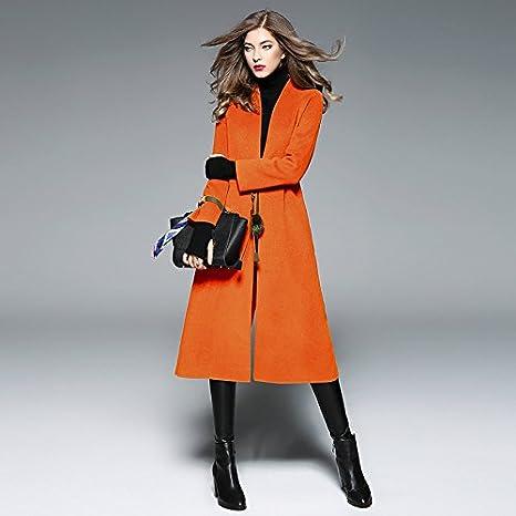 Womens HIDRRU Lana la larga, dos caras, abrigos de invierno de color sólido con